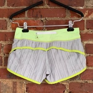 Lululemon speed up short 2.5inch green and grey